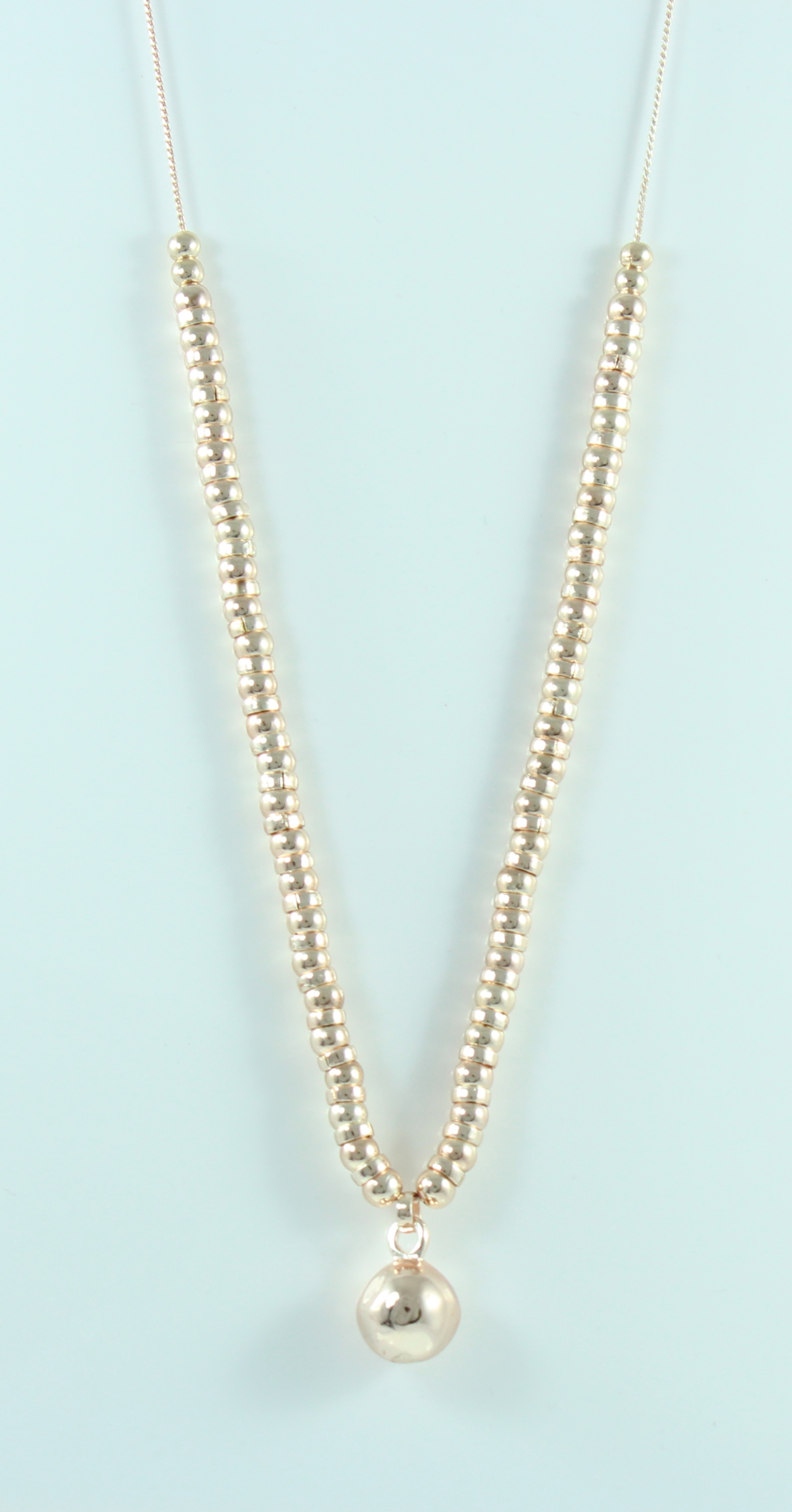 Rose Gold Long Necklace With Solid Ball Pendant With Rose