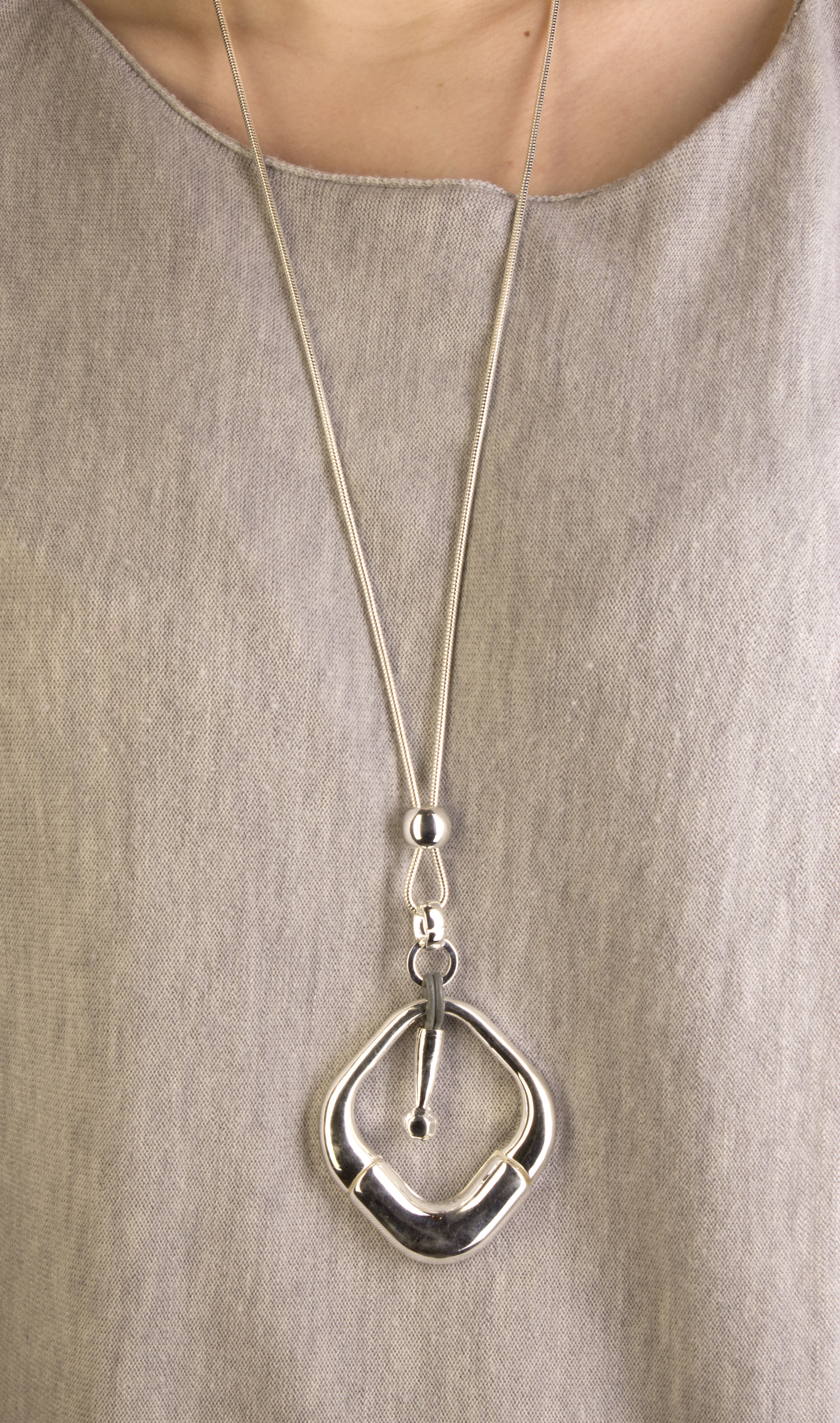 Long silver necklace with chunky silver pendant jane mckenzie long silver necklace with chunky silver pendant aloadofball Choice Image