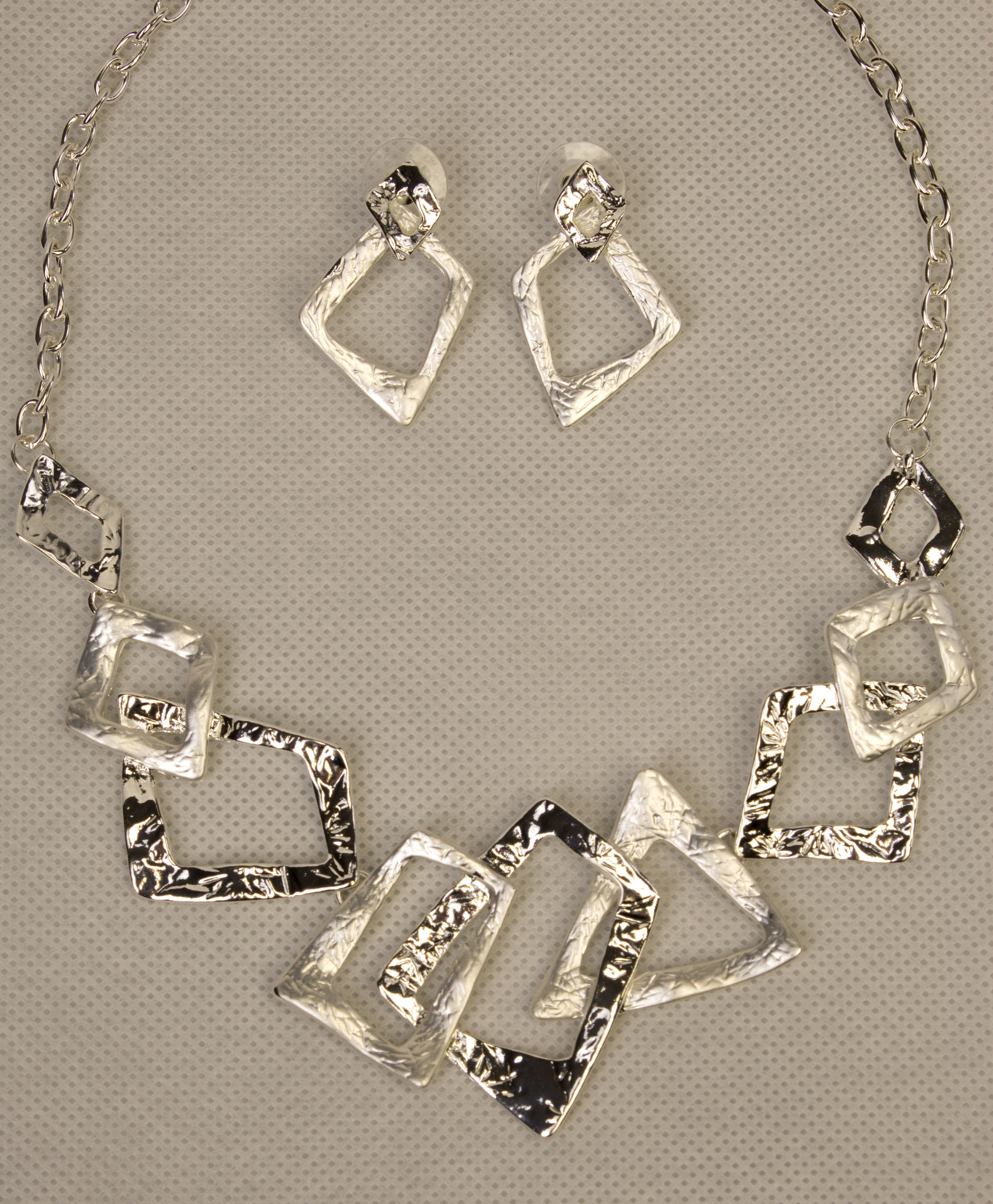 Silver Necklace and Matching Earrings